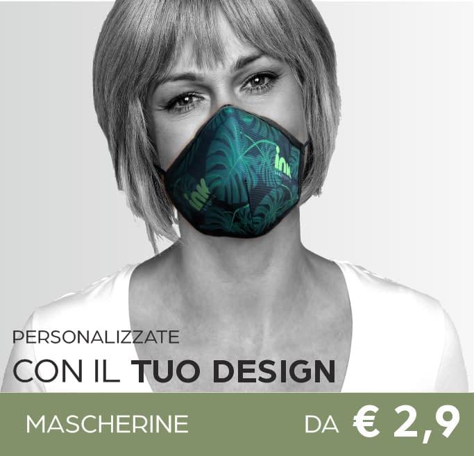 mascherine stampa personalizzata logo, 2 strati di protezione, lavabili